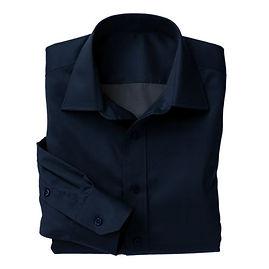 Dark Blue Twill Solid Shirt:N3-3340159
