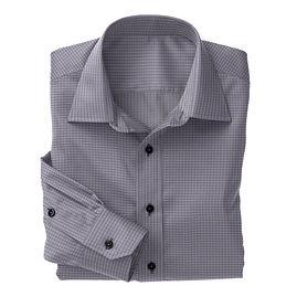 Navy Micro Check Poplin Shirt:S4-3541098