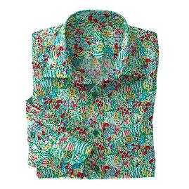 Green Impressionist Stretch Shirt:N7-4073168