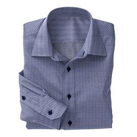 Navy Micro Houndstooth Check Shirt:N3-3340098