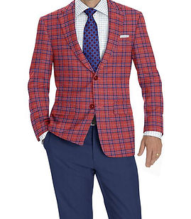 Red Navy Plaid Jacket:K4-3874359  Trouser:C6-3644042  Shirt:Z6-3961840