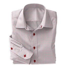 Lt Blue Red Check Twill Shirt:S4-3541025