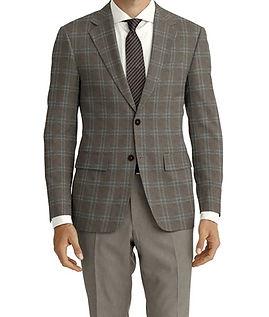Dormeuil Woodland Tan Ecru Check Jacket:Y6-4185327  Lining:L4-4072784  Trouser:Z3-3337392  Shirt:N3-3858326