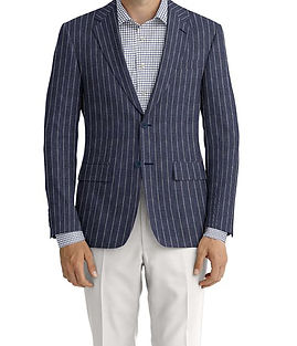 Navy Chalk Stripe Linen Jacket:K4-3861635  Trouser:C6-3644053  Shirt:N7-4072117