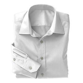 White Twill Solid Shirt:N3-3340154