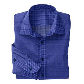 Blue Houndstooth Print Shirt:N5-4074766