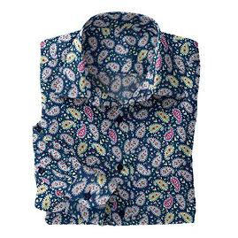 Emerald Paisley Stretch Shirt:N7-4073150