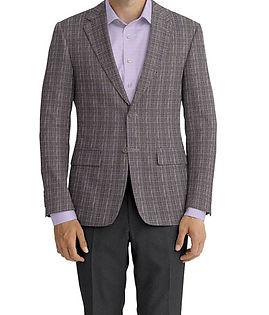 Dormeuil Calypso Grey Glen Purple Check Jacket:Y6-4073654  Lining:L2-3540539  Trouser:Z1-3336883  Shirt:N5-3658449