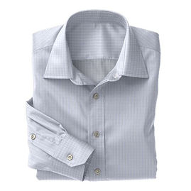 Blue Micro Check Shirt:N3-3340109