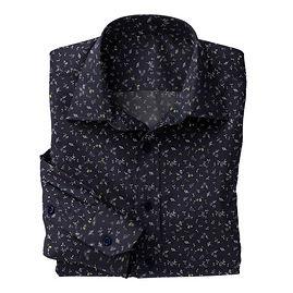 Navy Abstract Floral Shirt:N5-4293121