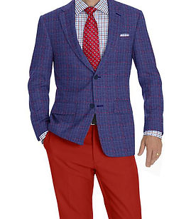 Blue Red Micro Check Windowpane Jacket:K4-3874382  Trouser:C1-4184556  Shirt:N6-4072093