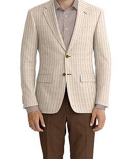 Tan Brown Chalk Stripe Linen Jacket:K4-3861636  Trouser:C6-3644145  Shirt:N2-3754090