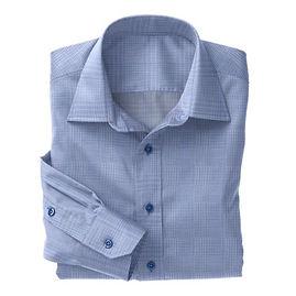 Blue Expanded Plaid Twill Shirt:S4-3541071