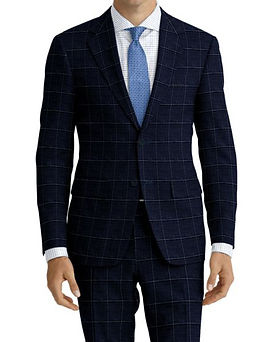 Navy Brown Windowpane Suit:Z4-4071905  Shirt:N6-4071977