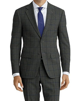Grey Teal Windowpane Suit:Z4-4071904  Shirt:N6-4071977