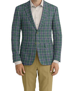 Dormeuil Calypso Green Tan Multi Check Jacket:Y6-4073643  Lining:L6-3129874  Trouser:C3-4184584  Shirt:N7-3753346