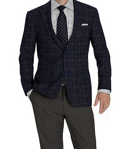 Navy Grey Windowpane Jacket:K4-3874315 Trouser:Z2-4186914  Shirt:N3-3753196