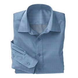 Blue Micro Houndstooth Check Shirt:N3-3340097