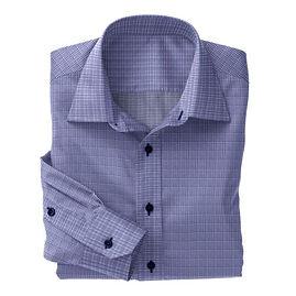 Navy Prince of Wales Check Shirt:N3-3340107