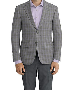Dormeuil Echo Grey Window Overcheck Jacket:Y6-4073446  Lining:L4-4072766  Trouser:E1-3642471  Shirt:P3-3542002