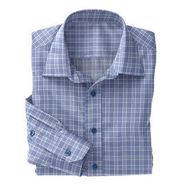 Soktas Blue White Plaid Dobby Shirt:S2-3540917