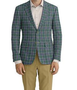 Dormeuil Calypso Green Tan Multi Check Sportcoat:Y6-4073643  Lining:L6-3129874  Trouser:C3-4184584  Shirt:N7-3753346