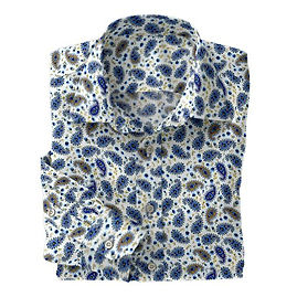 Periwinkle Paisley Stretch Shirt:N7-4073149