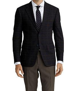 Dormeuil Woodland Navy Blue Tan Window Jacket:Y6-4185350  Lining:L4-4072792  Trouser:Z2-3336926  Shirt:N6-4071977
