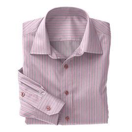 Pink Blue Multistripe Poplin Shirt:S4-3541046