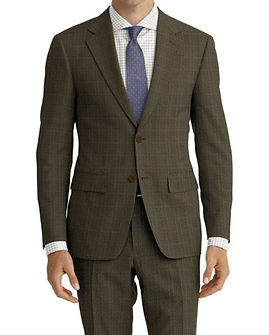 Taupe Pinstripe Suit:Z4-4071930