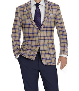 Khaki Navy Plaid Jacket:K4-3874361  Trouser:Z2-4186907  Shirt:S2-3540919