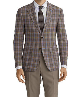 Brown Blue Plaid Jacket:K4-4073371  Trouser:Z1-3336900  Shirt:N6-4072084