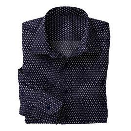 Navy White Dotted Squares Print Shirt:N5-4074769