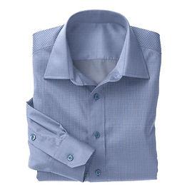 Blue Micro Gingham Check Shirt:N3-3340096