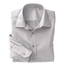 Brown Blue Micro Check Shirt:N3-3340112