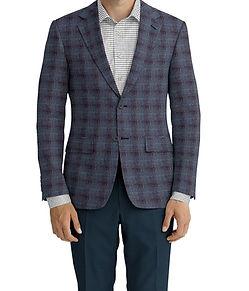 Dormeuil Dorsilk Red Teal Tan Blue Check Sportcoat:Y4-4185195  Lining:L4-4072745  Trouser:Z4-3336953  Shirt:N6-4071984