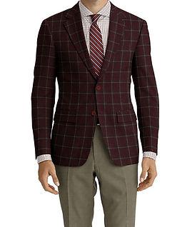 Dormeuil Woodland Plum Ecru Window Jacket:Y6-4185337  Lining:L2-3540452  Trouser:Z4-3336950  Shirt:N7-4072116