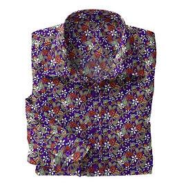 Purple Mod Paisley Stretch Shirt:N7-4073154