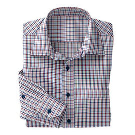 Lt Blue Red Check Twill Shirt:S4-3541058