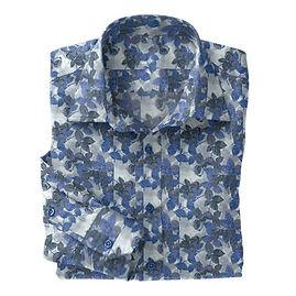 Grey Blue Leaves Shirt:N5-4293112