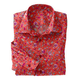 Pink Floral Paisley Stretch Shirt:N7-4073163