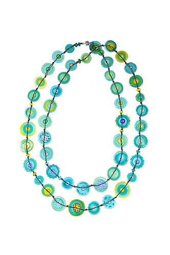 long teal jelly necklace