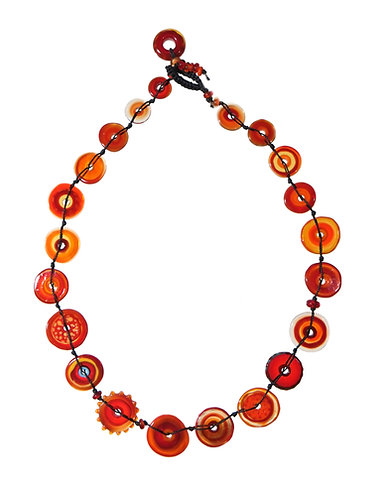 short jelly necklace, red, mango and chilli