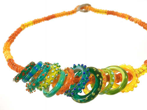 Zoom necklace, mango and mixed fruit hoops