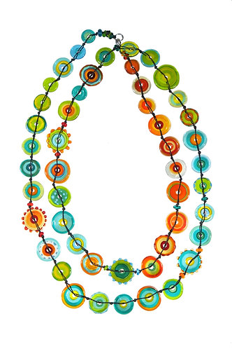 multicoloured long jelly necklace