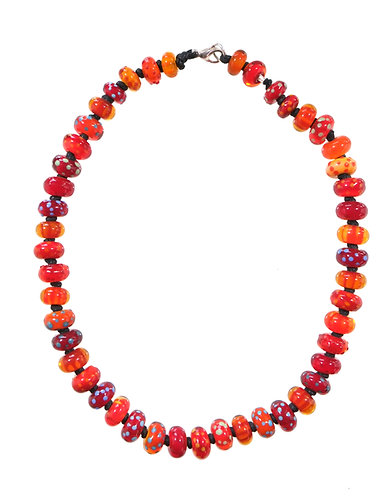 berry necklace, cherry red and cranberry