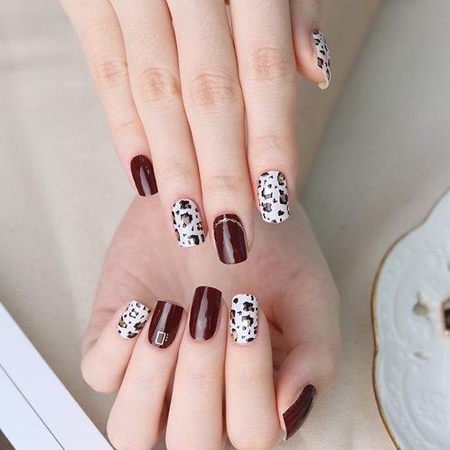 45695. Leopard Burgundy