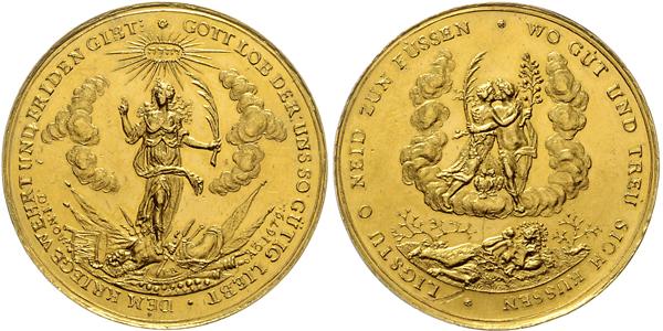 Nr. 2059: HAMBURG.½ Gold-Bankportugaleser zu 5 Dukaten 1679 (Interims-Rezeß). Taxe: 5000,– Euro