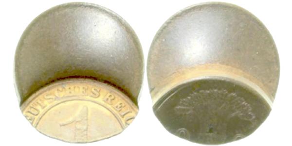 Dezentriert geprägte 1-Pfennig-Münze