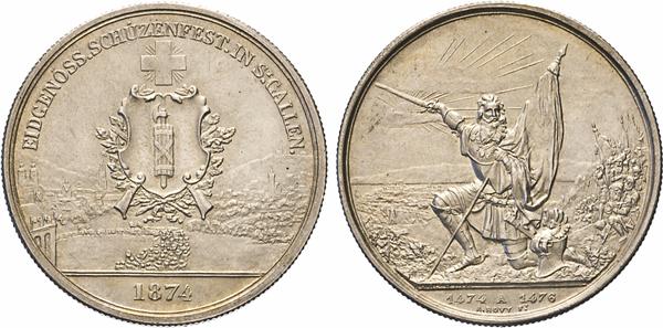 Los 1546: Schweiz. 5 Franken 1874 . Schützenfest in St. Gallen. Dav. 386.